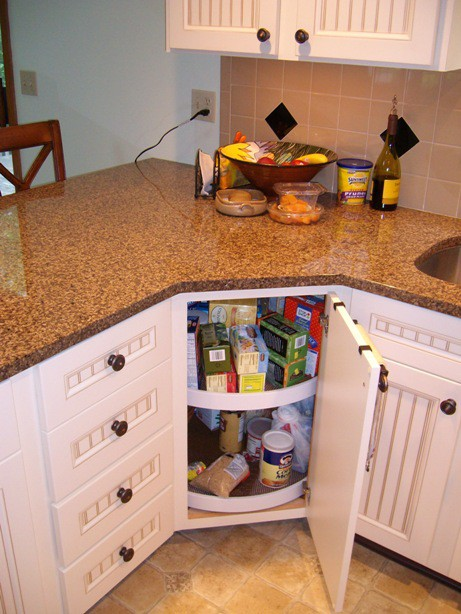 Kitchen Refinishing Corner cabinet lasy susan