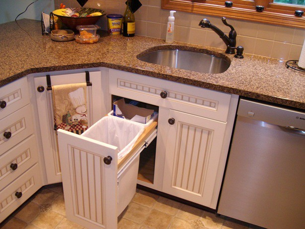 Kitchen refinishing with trahs and recycling pullouts Cape Cod Yarmouth cabinet refacing Cabinet Refacing TrashPullout